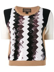Giambattista Valli Sequinned Chevron Top Brown