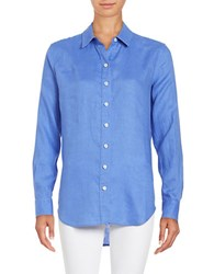Lord And Taylor Plus Long Sleeve Linen Shirt Blue