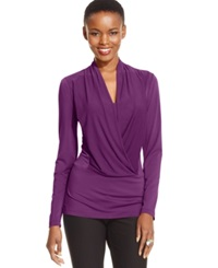 Eci Long Sleeve Draped Top Dark Purple