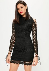Missguided Black Lace High Neck Lace Up Sleeve Bodycon Dress