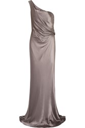Amanda Wakeley One Shoulder Draped Silk Satin Gown Nude