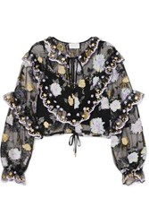 Alice Mccall Ruffled Embroidered Tulle Blouse Black