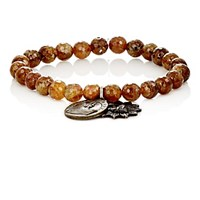 Miracle Icons Men's Garnet Bead And Charm Bracelet Green