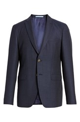 Sand Trim Fit Wool Blazer Blue