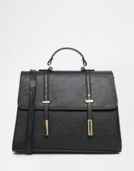 Asos Tab Front Satchel Bag Black