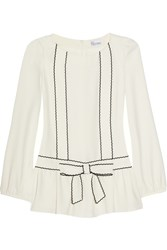 Red Valentino Bow Detailed Crepe Blouse White