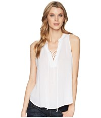 Stetson 1577 Rayon Crepe Laced Loose Tank Top White Clothing