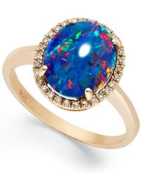 Macy's 14K Rose Gold Ring Opal Triplet And Diamond 1 10 Ct. T.W. Oval Shaped Ring Blue