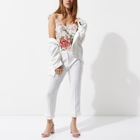 River Island Petite White Tassel Hem Cropped Trousers