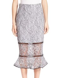 Nicholas Lace Flared Hem Midi Skirt Pewter