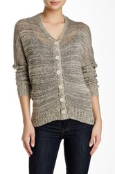 Shu Shu Long Sleeve V Neck Metallic Cardigan