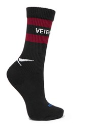 Vetements Reebok Intarsia Cotton Blend Socks Black
