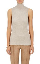 The Row Women's Brianna Mock Turtleneck Wool Shell Tan