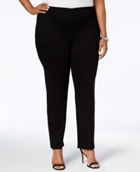 Jm Collection Plus Size Pull On Ponte Pants Created For Macy's Deep Black
