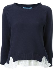 Guild Prime Crew Neck Lace Insert Jumper Blue