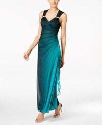 Betsy And Adam B A By Ombre Open Back Glitter Gown Teal Ombre