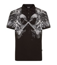 Just Cavalli Eagle And Guitar Print Polo Shirt Male Black