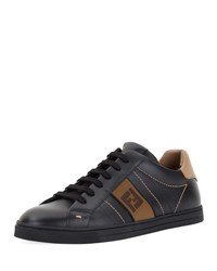Fendi Ff Embroidered Leather Low Top Sneakers Black