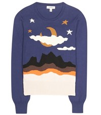 Coach Printed Cotton Sweater Blue
