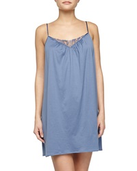 Hanro Roma Lace Trimmed Chemise Blue Shadow