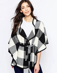 Wal G Cape Jacket In Check Black Cream