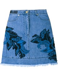House Of Holland Denim Skirt With Lace Overlay Blue