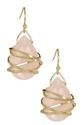 Sapanyu Carved Rose Quartz Dangle Earrings Pink