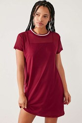 Silence And Noise Athletic Mesh T Shirt Dress Maroon