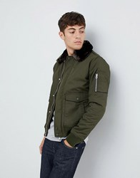 Schott Air Bomber Jacket With Detachable Faux Fur Collar In Green Brown