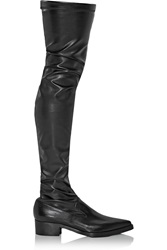 Stella Mccartney Faux Stretch Leather Over The Knee Boots Black