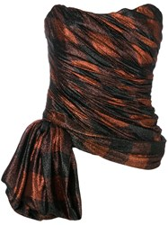 Redemption Strapless Draped Top Red