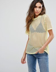 New Look Fishnet Boyfriend Tee Bright Yellow