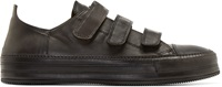 Ann Demeulemeester Black Leather Velcro Sneakers