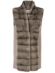 Max And Moi Fur Stole Vest Wool Mink Fur Brown