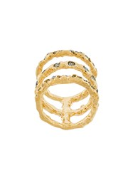 Koche Embellished Ring Brass Glass Metallic