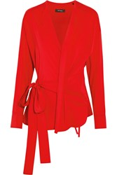 Isabel Marant Dorcey Stretch Silk And Wool Blend Wrap Top Red