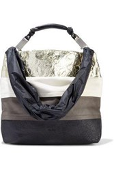 Rick Owens Woman Medium Balloon Suede Vinyl Metallic And Textured Leather Tote Multicolor