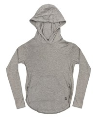 Terez Cutaway Sides Heathered Hoodie Top W Thumbholes Gray