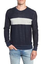 Faherty Reversible Colorblock Terry Sweatshirt Navy Grey