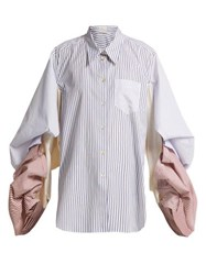 Hillier Bartley Pinstriped Distorted Sleeve Cotton Shirt Blue Multi