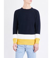 Tommy Hilfiger Contrast Panel Knitted Jumper Midnight