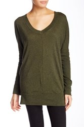 Bobi Long Sleeve V Neck Tunic Green