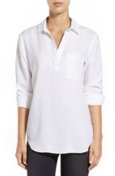 Women's Side Stitch Tencel Shirt White