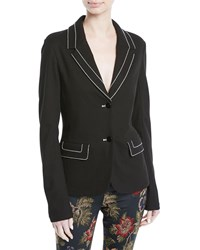 Rosetta Getty Interlock Knit Travel Jacket With Topstitched Detail Black
