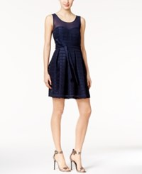 Guess Illusion Crepe Fit And Flare Dress Navy