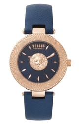 Versus By Versace Brick Lane Leather Strap Watch 40Mm Blue Rose Gold