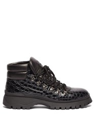 Prada Crocodile Effect Leather Hiking Boots Black