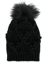 Dolce And Gabbana Fur Lined Beanie Hat Fox Fur Cashmere Black