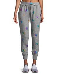 Terez Star Foil Printed Jogger Pants Gray Pattern
