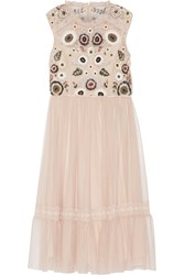 Needle And Thread Embellished Lace Trimmed Tulle Dress Blush